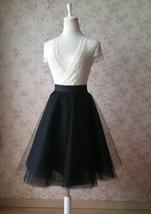 Black Tulle Midi Skirt Women A-line Black Midi Skirt Knee Length Black Skirts image 2