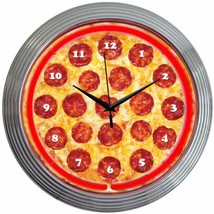 "Pizza Restaurant Neon Clock 15""x15"" - $59.00"