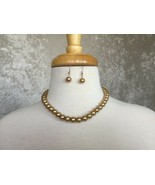 CLEARANCE---------------11mm Light Brown Pearl Earrings & Necklace Set - $12.50