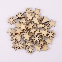 Diy Christmas Tree Ornaments Natural Wooden Pendant Gift Tree Snowflake ... - $0.99+