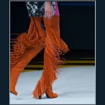 Long Fringe Russet Suede Leather Over the Knee Thigh High Square Heel LA Boots image 3