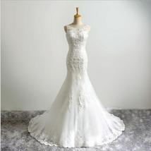 Ivory Scoop Neck Lace Beaded Mermaid Wedding Dress Strapless Bridal Gowns 2019 - $156.88