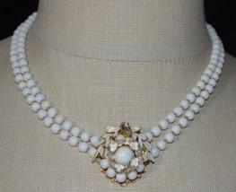 Vintage Gold Tone White Milk Glass Beaded Enamel Flower Rhinestone Necklace - $74.25
