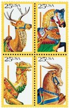 1988 Carousel Animals Block of 4 US Postage Stamps Catalog Number 2390-93 MNH