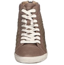NIB FRYE Kira Studded High Top Sneakers Color Brown Size 7.5M White Laces - $99.99