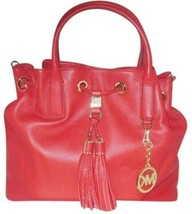 MICHAEL KORS CAMDEN LEATHER DRAWSTRING RED GOLD CROSSBODY LARGE SATCHEL BAG NWT image 1