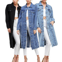 Women's Long Casual Maxi Length Denim Cotton Coat Oversize Button Up Jean Jacket