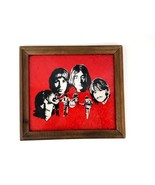 Beatles Framed Photo - Red Foil Beatles OOAK Handmade Wall Picture with ... - $28.04