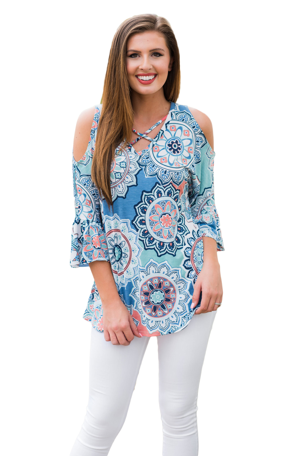 Blue Cold Shoulder Criss Cross Floral Blouse