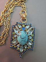 Couture Blue Rhinestone Pendant Necklace Chain Speckled Glass Cabochon Turquoise - $44.54