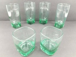 6 Libbey Carrington Green 4) Cooler 2) Double Old Fashioned Square Tumblers Set - $48.18