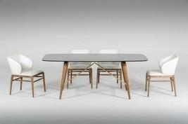 VIGModrest Kipling Modern Smoked Glass&Walnut Dining Table Set 7Pcs Contemporary