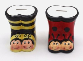 "2 Porcelain Boots Coin Piggy Banks Bumble Bee & Lady Bug  4""H x 4""W - $35.99"