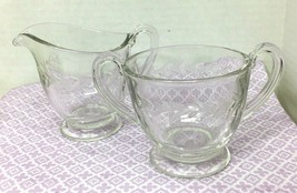 Fostoria Holly Clear Creamer & Sugar 1942 - 1980 Pair Set Excellent Shape - $29.21