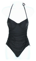 J Crew Women's Halter Underwire One-Piece Swimsuit Bathing Suit Black 12... - $27.59