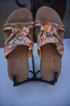 Aresoles Women's Size 5 Orange Snakeskin Slide On Sandals - $39.59