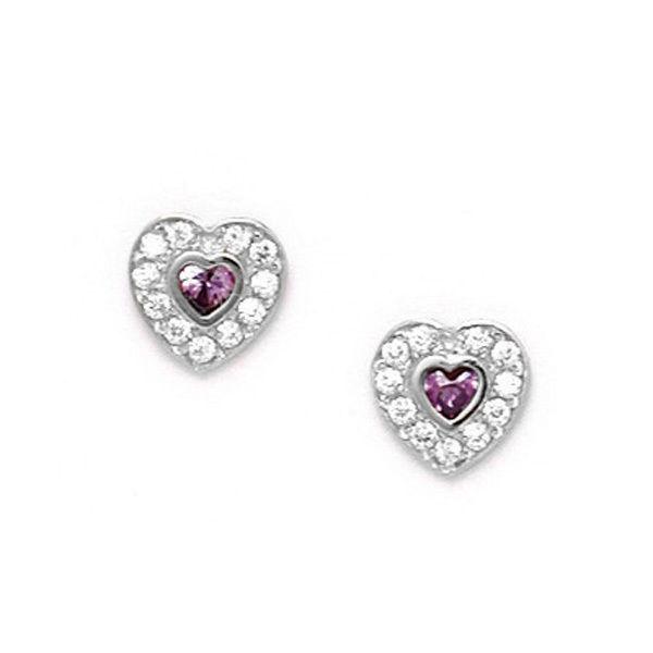 Women/Childrens 12 Month Birthstone Heart Stud Earrings ScrewBack 14K White Gold
