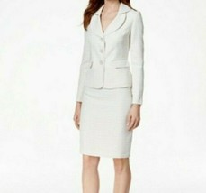 Le Suit Tweed Three-Button Skirt Suit Cream Size 10 US - $198.00