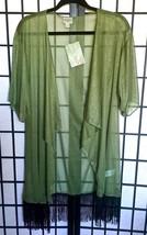 LuLaRoe MONROE Kimono S Green Chiffon Paisley Beach CoverUp BOHO Festiva... - $36.25