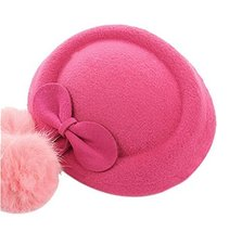 Wool Fedora Hat Small Hat Hairpin Side Clip Hair Accessories, Rose Red Bow Tie