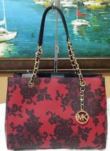 MICHAEL KORS Susannah tote Large LACE PRINT BAG SATCHEL Shoulder bag Red... - $206.91