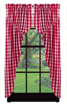Picnic Red & White Gingham Prairie Curtain Set - Farmhouse Country Curtains - $59.35