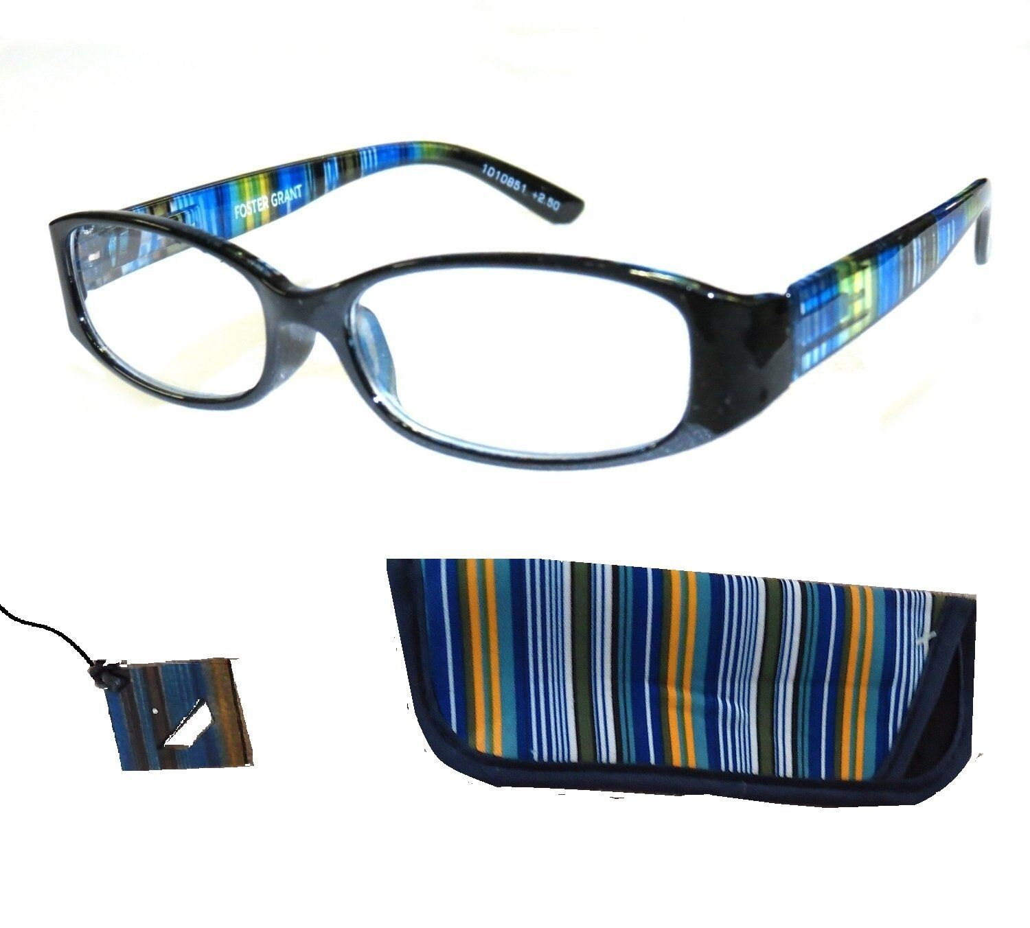 Primary image for Quality Woman's +1.00 Foster Grant Blue Stripe Reading Glasses w Case Spring Hng