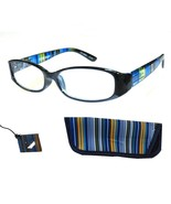Quality Woman's +1.00 Foster Grant Blue Stripe Reading Glasses w Case Sp... - $5.44
