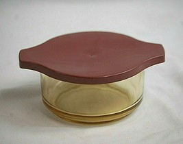 Vintage 1960's Dynaware Pyr-O-Rey Amber Glass Individual Casserole Dish ... - $19.79