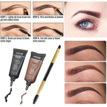 2pc Brown Waterproof Eyebrow Henna With Mascara Eyebrows Paint Brush Beauty  - $7.99
