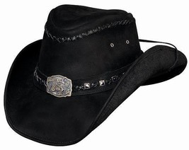 Bullhide Leather Hat With Concho and Strap - Thunderstruck - Black - $76.00