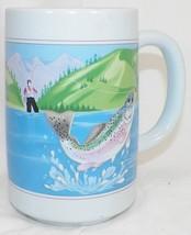 TALL OTAGIRI BLUE FISHING COFFEE MUG CUP W/ RAINBOW TROUT - $14.99