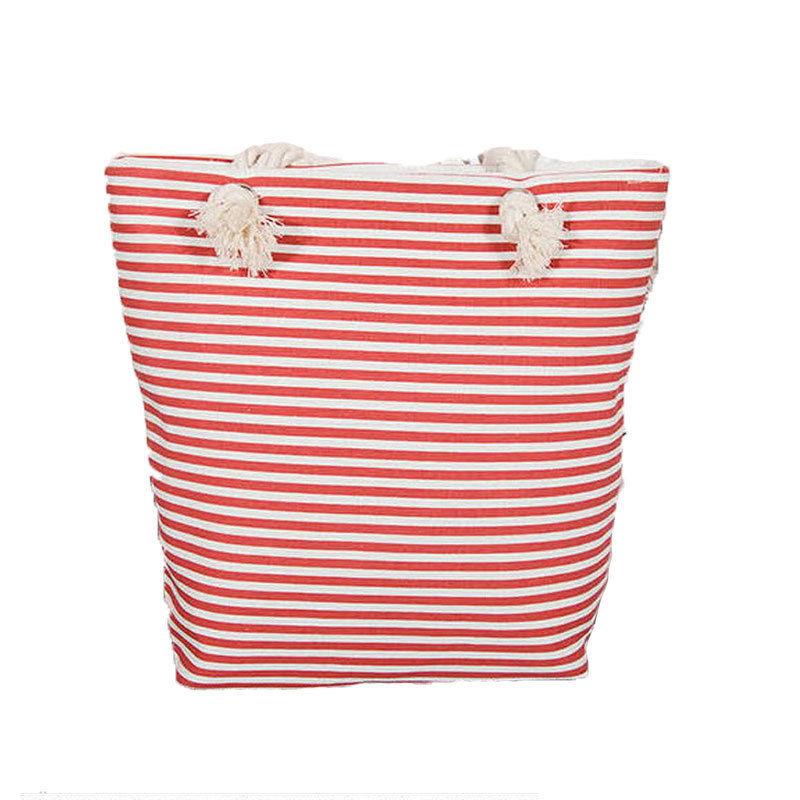 Beach Bag Canvas Women Summer Shoulder Striped Large Capacity Shopping Handbag