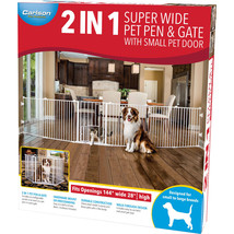 Carlson Pet Beige 2 In 1 Super Wide Pen & Gate W/door Brackets 144wx28h ... - $167.94