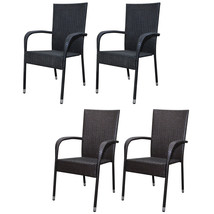 Patio Outdoor Garden Dining Chair Set of 2 Wicker Poly Rattan Black/Brown - $77.99