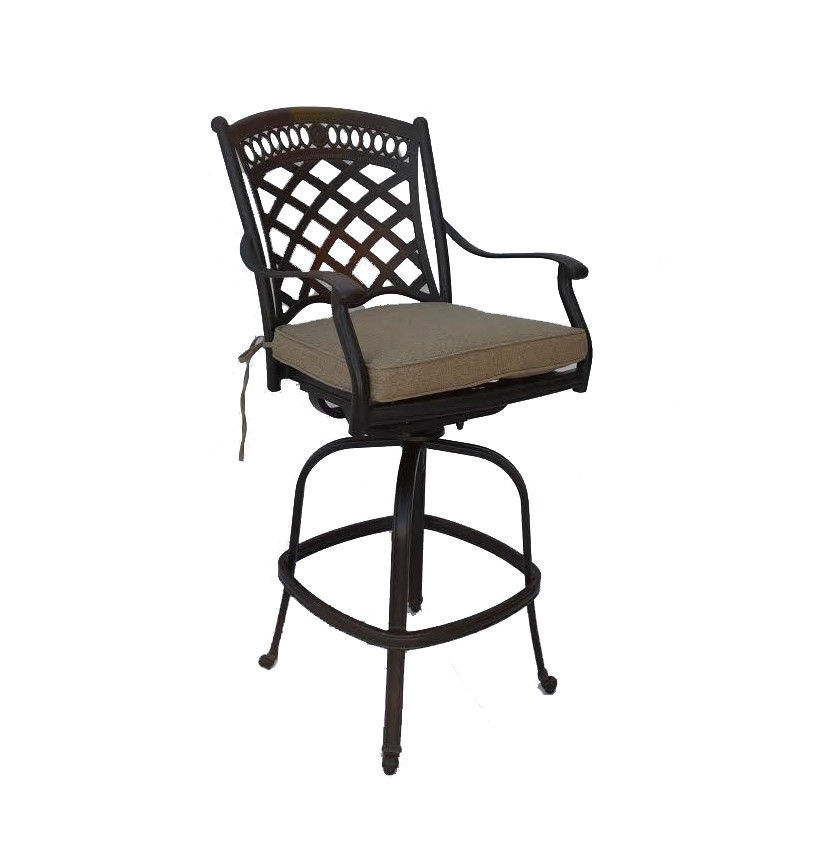 Bar height propane fire pit table 9 pc dining set cast ...