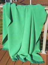 Vintage Wool Blanket 62 x 72 ORR Blankets Satin Binding Kelly Green Piqu... - $49.49