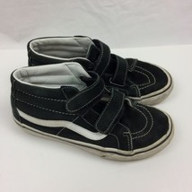 VANS High Top Sneakers Black Casual Kids Sz 3 Strap closer shoes  - $9.89