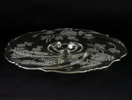 """Heisey Rose Etch Cake Stand w Rum Well, Vintage Elegant Etched 14"""" Footed Plate - $98.00"""