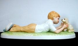 1980 Frances Hook 'Making Friends' Boy w Puppy Porcelain Figurine - $0.98