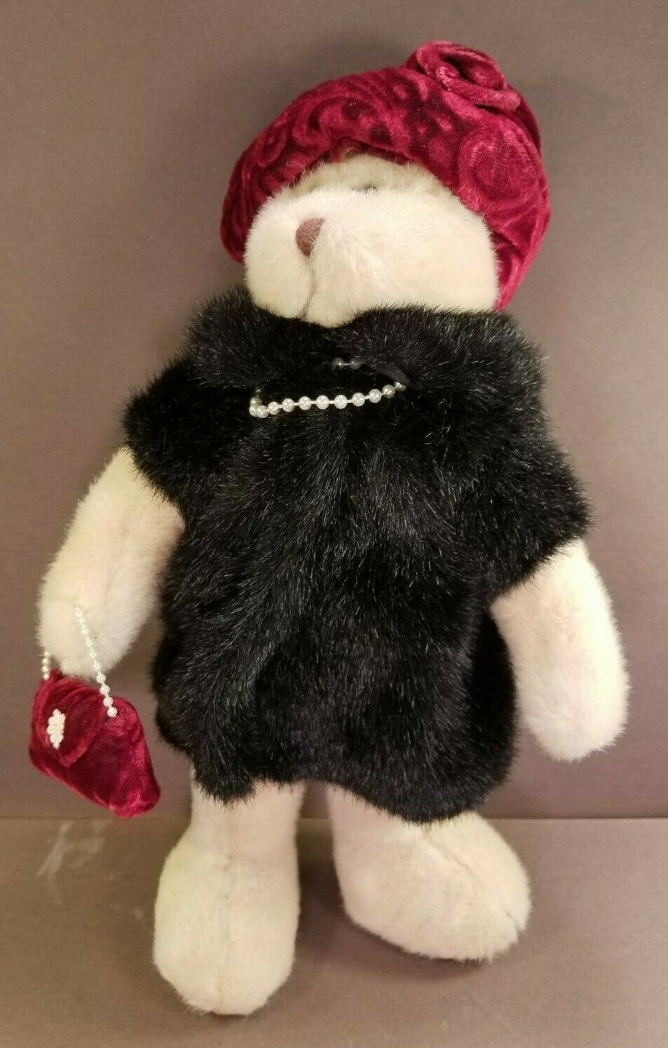 "Primary image for 12"" Russ Berrie & Co Nuria Plush Teddy Bear in Black Faux Fur Coat Pearls Purse"