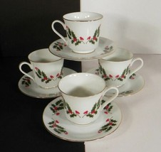 HOLLY by Japan Cup and Saucer Set (s) LOT OF 4 Red Berry Goldtone Trim C... - $24.70