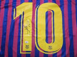 "LIONEL MESSI / AUTOGRAPHED ""FUTBOL CLUB BARCELONA"" PRO STYLE SOCCER JERSEY / COA image 3"