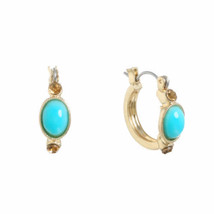 Monet Women's Blue Hoop Earrings Gold Tone NEW Hypo Allergenic - $11.57