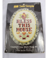 """Vintage 1987 Sew Simple Cross Stitch Kit """"Bless This House""""  3 1/5"""" x 5""""... - $10.95"""