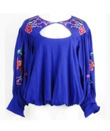 Free People Lita Size S Embroidered Bell Sleeve Top Blue Floral Cutouts ... - $23.91