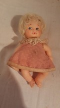 VINTAGE SMALL DOLL BLOND HAIR BLUE EYES JAPAN - $23.17