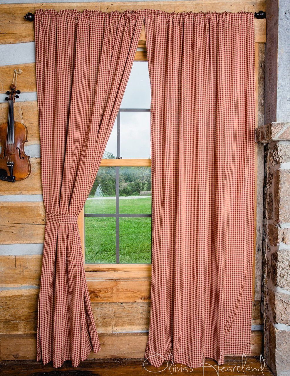 Primary image for Olivia's Heartland country Burgudy Tan Checkered plaid fabric 2 PANEL curtains
