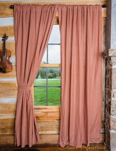 Olivia's Heartland country Burgudy Tan Checkered plaid fabric 2 PANEL curtains - $56.95
