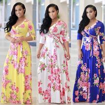 Women's Fashion Bohemian Short Sleeve Floral Print Deep V-neck Maxi Dress Beach